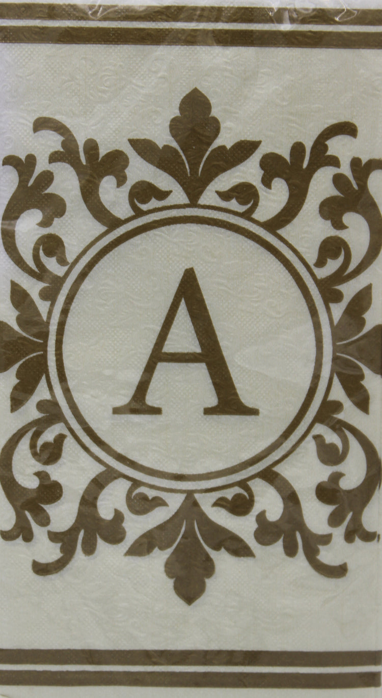 Monogram Gold and Cream Guest Napkins - A