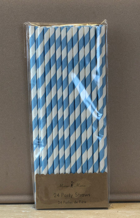 Blue and White Party Straws