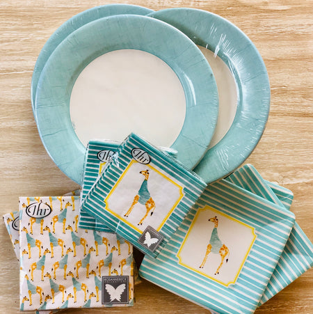 Baby Shower Plates and Napkins - Giraffe - Set of 24