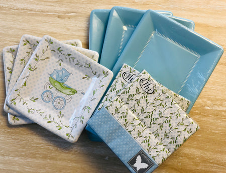 Baby Shower Plates and Napkins - Blue Baby Carriage - Set of 24