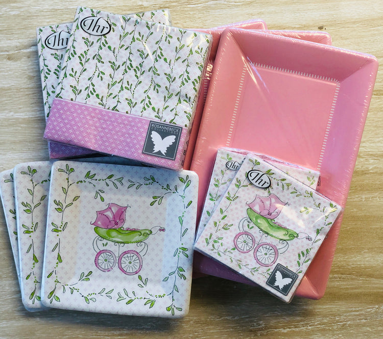 Baby Shower Plates and Napkins - Pink Baby Carriage - Set of 24