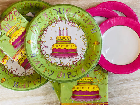 Birthday Party Plates and Napkins - Green - Set of 24