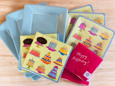 Birthday Party Plates and Napkins - Blue - Set of 24
