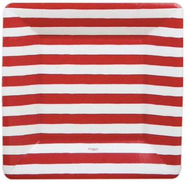 Red and White Striped Salad Plate