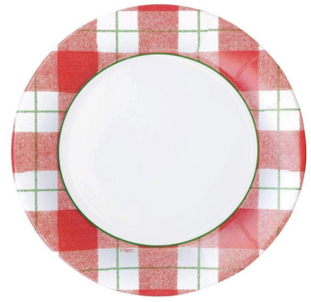 Red Plaid Check Dinner Plates