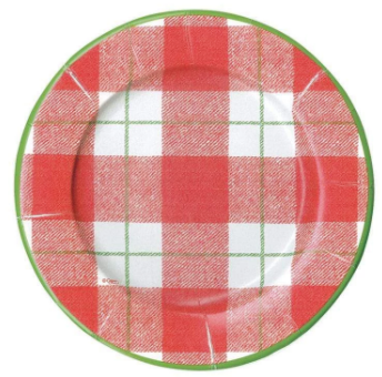 Red Plaid Check Salad Plates