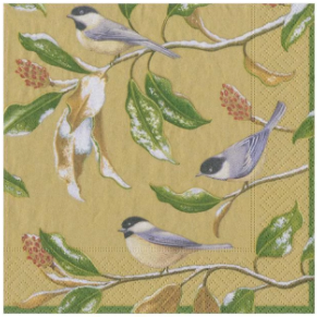 Chickadee and Magnolia Gold Cocktail Napkins