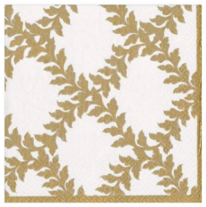 Gold and Ivory Acanthus Trellis Dinner Plates