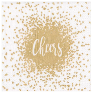 Gold and White Cheers Cocktail Napkins