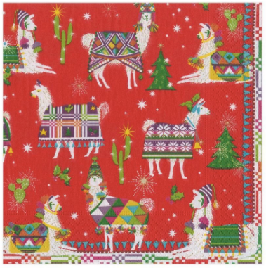 Hello Dolli Holiday Llama Luncheon Napkins