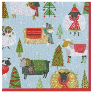 Warm and Wooly Sheep Christmas Cocktail Napkins