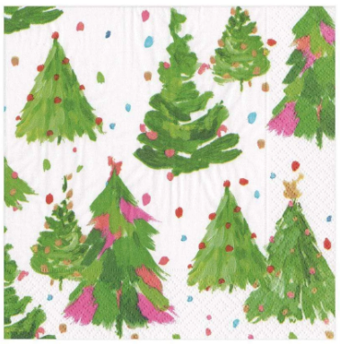 Brushstroke Christmas Tree Cocktail Napkins