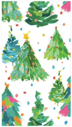 Brushstroke Christmas Tree Guest Towels