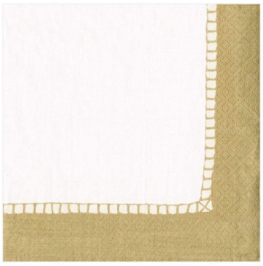 Gold Border Cocktail Napkins