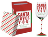 Santa Loves You Wine Glass
