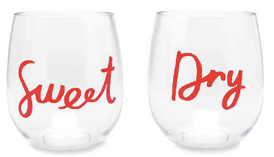 Kate Spade Sweet & Dry Stemless Wine Glasses