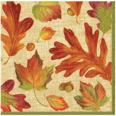 Linen Leaves Natural Luncheon Napkins