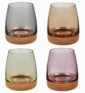 Stemless Wineglass w/ cork bottom, 14 OZ