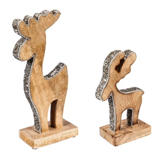 Mango Wood Reindeer with Silver Sequins Tabletop Decoration