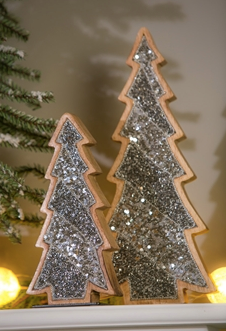 Wood Tree with Silver Sequins and Metal Base