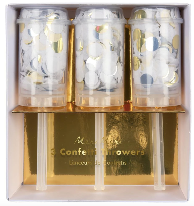 Gold, Silver & White Confetti Throwers
