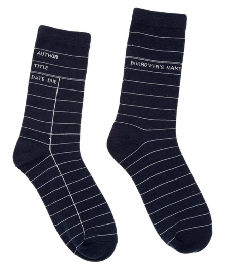 Library Card Socks - Navy