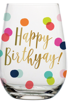 Happy Birthyay! - Stemless Wine Glass