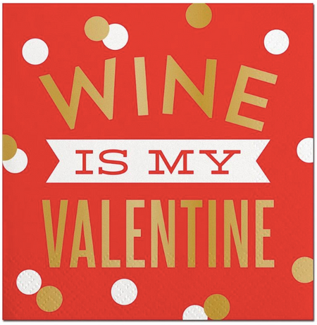 Wine My Valentine Beverage Napkin