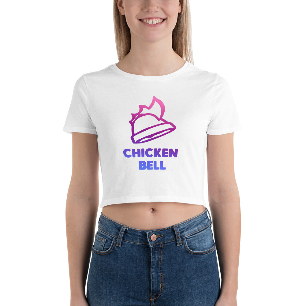 Neon Chicken Bell Women's Crop Tee