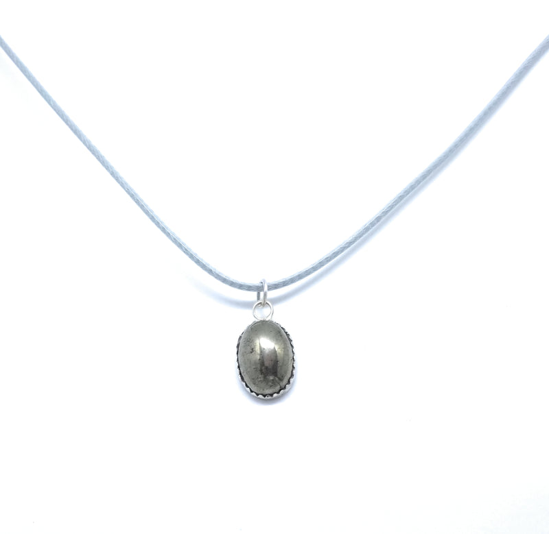 Pyrite Natural Stone Sterling Silver Pendant Necklace