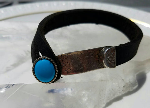 Turquoise on Sterling Silver Leather Bracelet