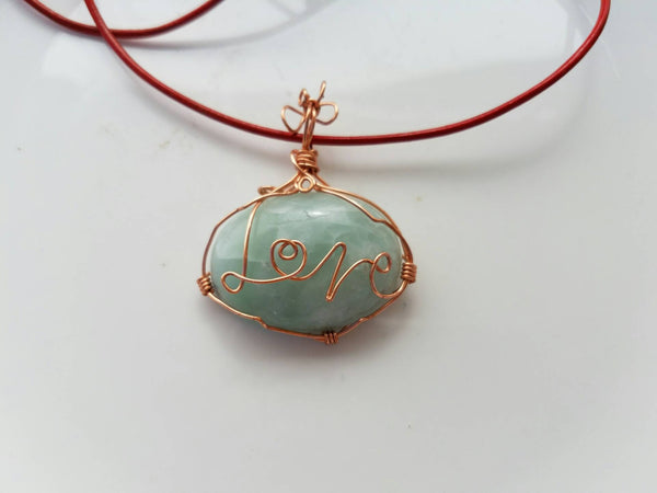 "Monogramed ""LOVE"" message on Green Calcite Wire Wrap Pendant Necklace"