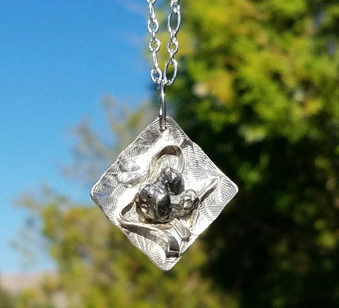 Meteorite Silver Pendant Necklace