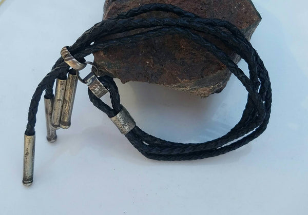Braided Black Leather patina Finished Silver Accent Bracelet