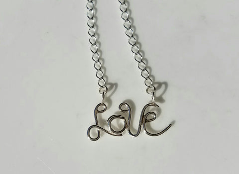 LOVE Necklace  Monogram Sterling Silver Necklace