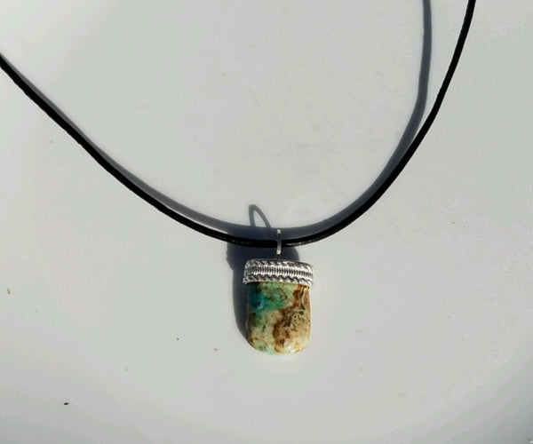 Chrysicolla sterling silver pendant