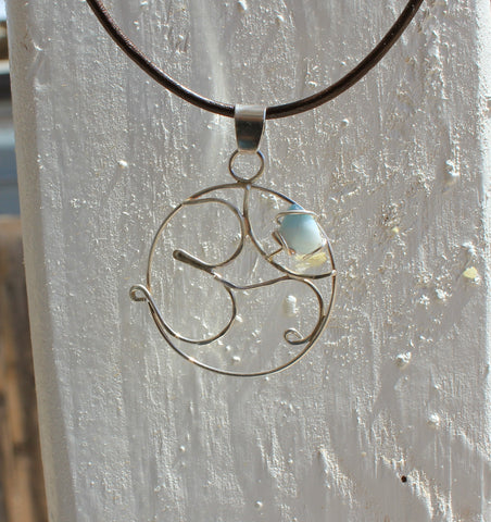 OM symbol with Larimar pendant necklace