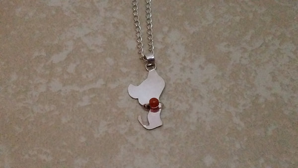 Cat figure silhouette pendant with carnelian