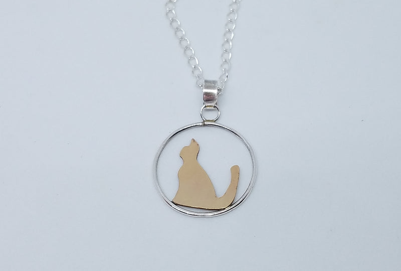 14 K GF Cat silhouette with  Sterling Silver Pendant Necklace