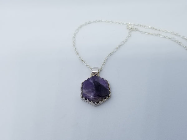 Amethyst Silver Pendant Necklace