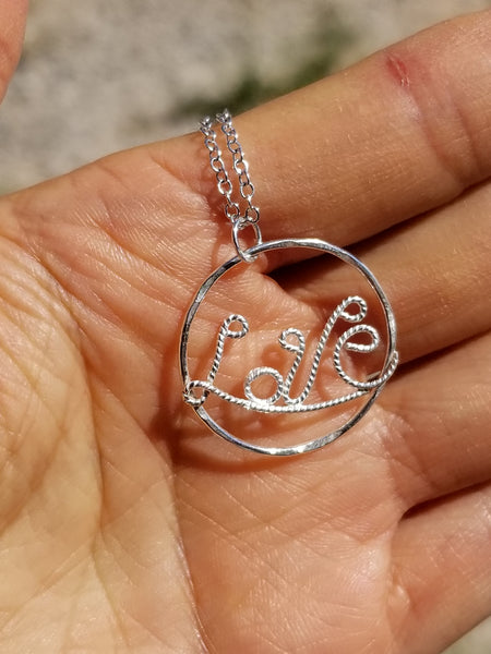 Love in Circle Sterling Silver Pendant Necklace
