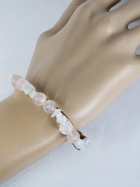 Tiger Eye, Rose Quartz, Rainbow Moonstone Flexible Bead Bracelet