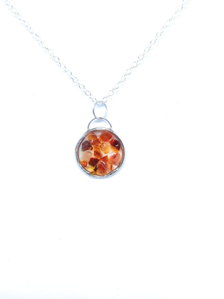 Carnelian in Resin Sterling Silver Pendant Necklace