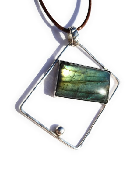 Labradorite Rectangle Sterling Silver Pendant Necklace