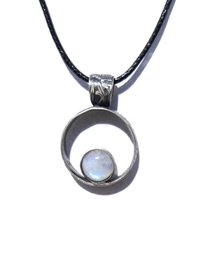 Rainbow Moonstone Patina Finished Sterling Silver Pendant