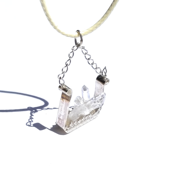 Crystal Cluster Quartz Sterling Silver Pendant Necklace