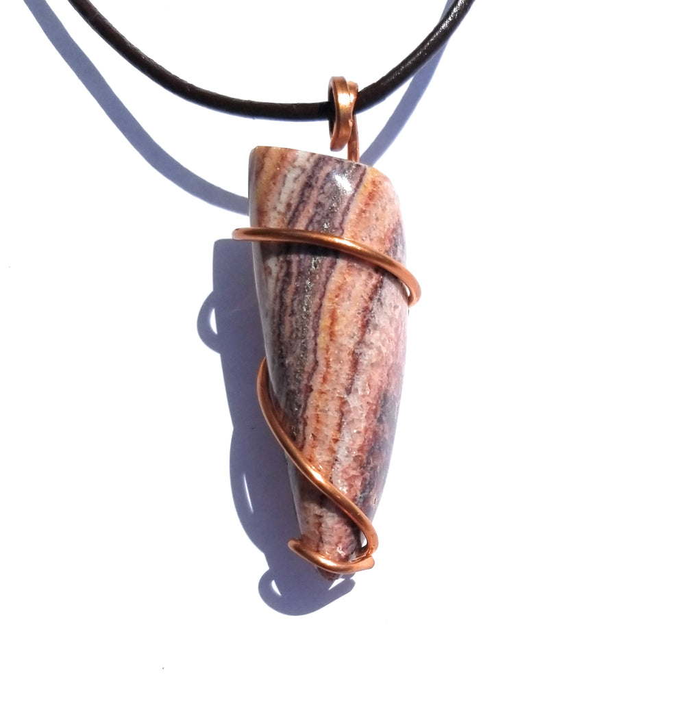 Nevada Rainbow Onyx Copper Wire Wrap Pendant Necklace