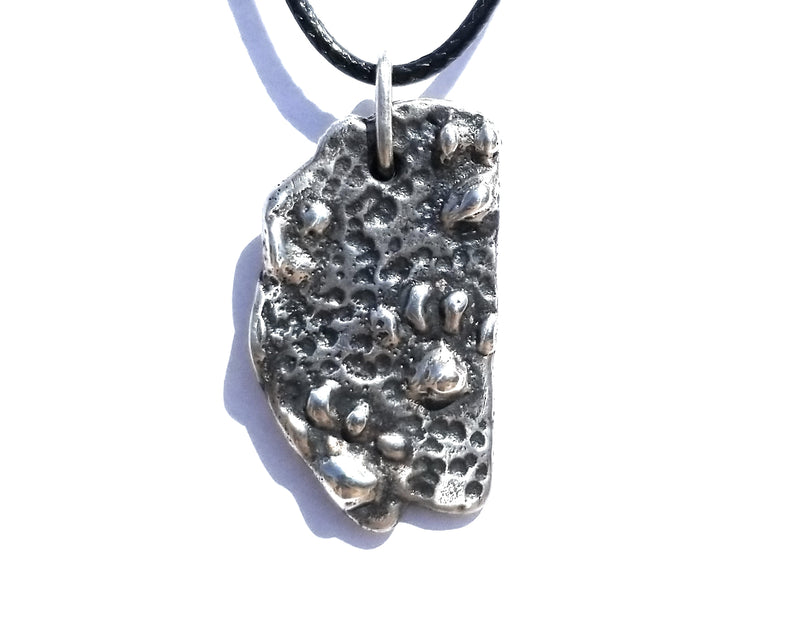Paw Animal Foot Print Pendant Patina Finish Sterling Silver