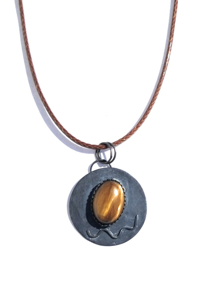 Tiger's Eye Natural Stone Patina Fisnish Sterling Silver Pendant