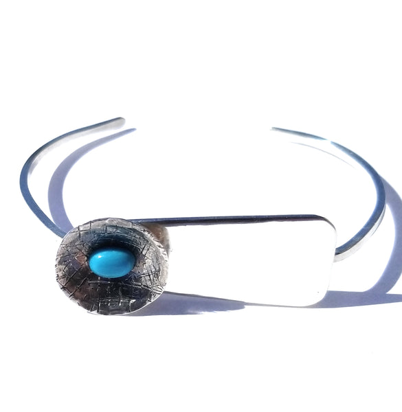 Turquoise Accent Silver Cuff Bracelet